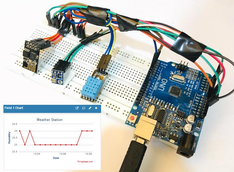 IoT Wireless Weather Station using Arduino, ESP8266 and ThingSpeak