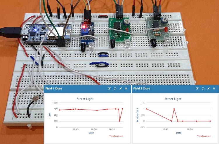 IoT based Smart Street Light using NodeMCU ESP8266 and ThingSpeak