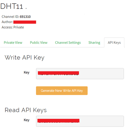 APl Key for ThingSpeak for IoT based Temperature and Humidity Monitor using ESP8266.