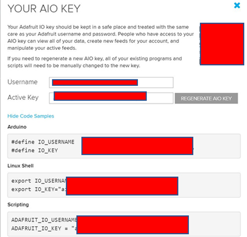 Adafruit AIO Key