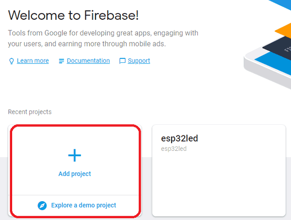 Add Project to Google Firebase for IoT Based LED Control using ESP32 NodMCU