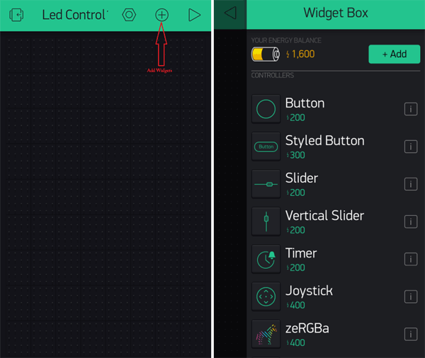 Add Widget to Blynk App for Controlling LED