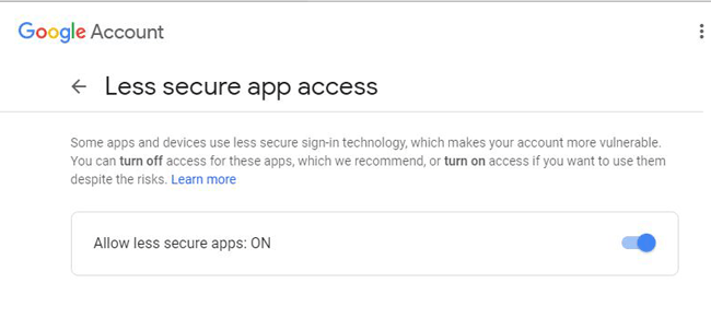 Allow Less Secure Apps in Google Account