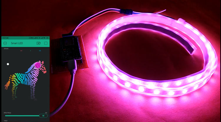 Blynk controlled WS2812 Neopixel LED Strip