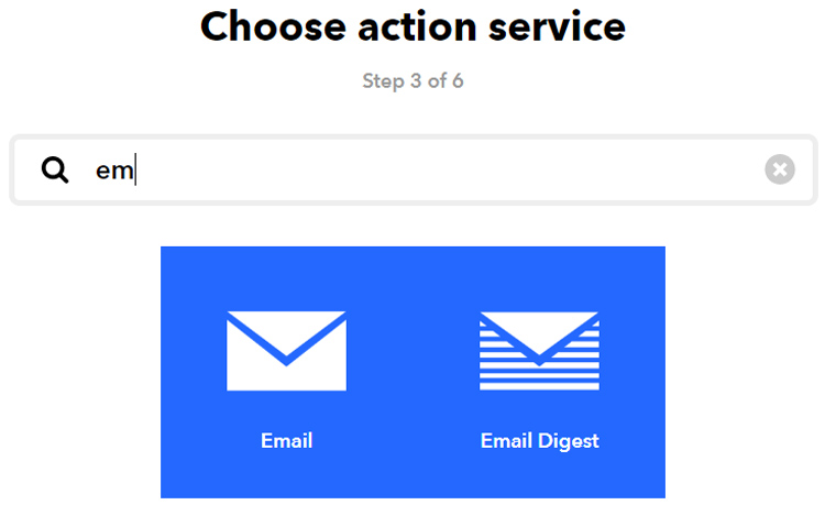 Choose Action For IFTTT
