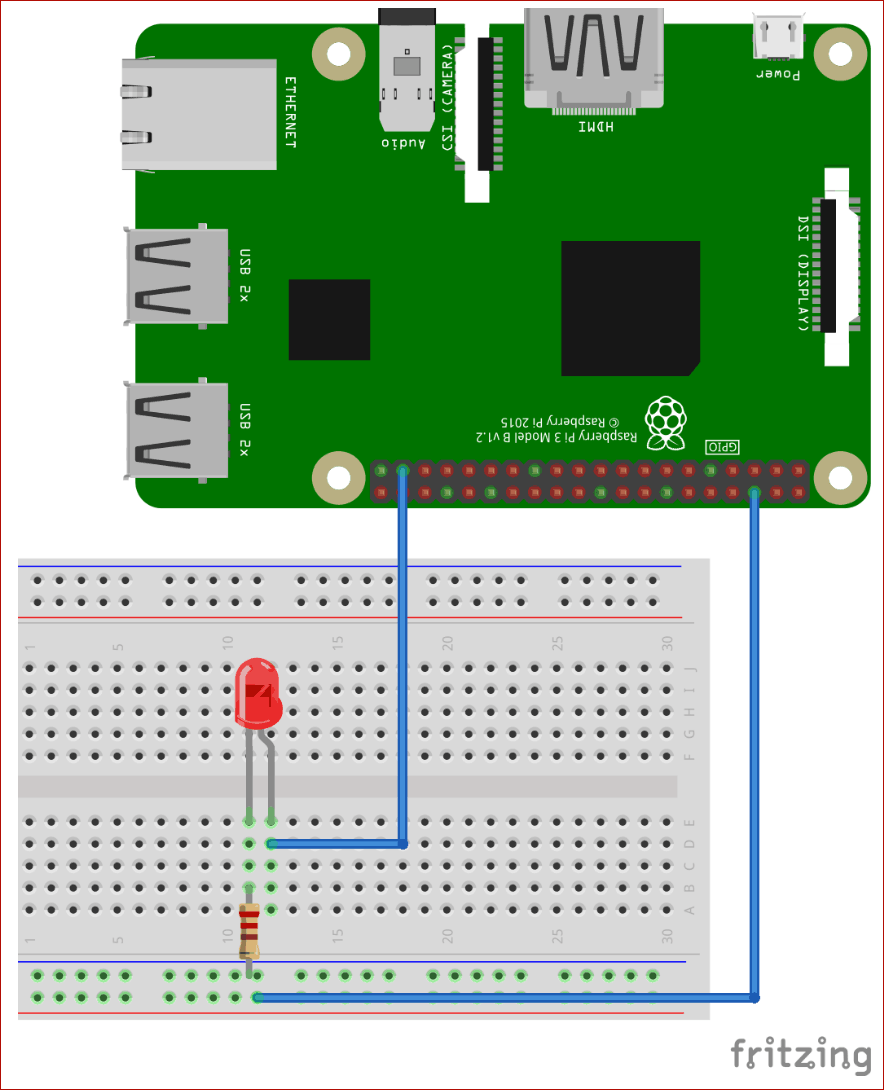 Circuit Diagram for Controlling LED using Raspberry Pi and Telegram Bot
