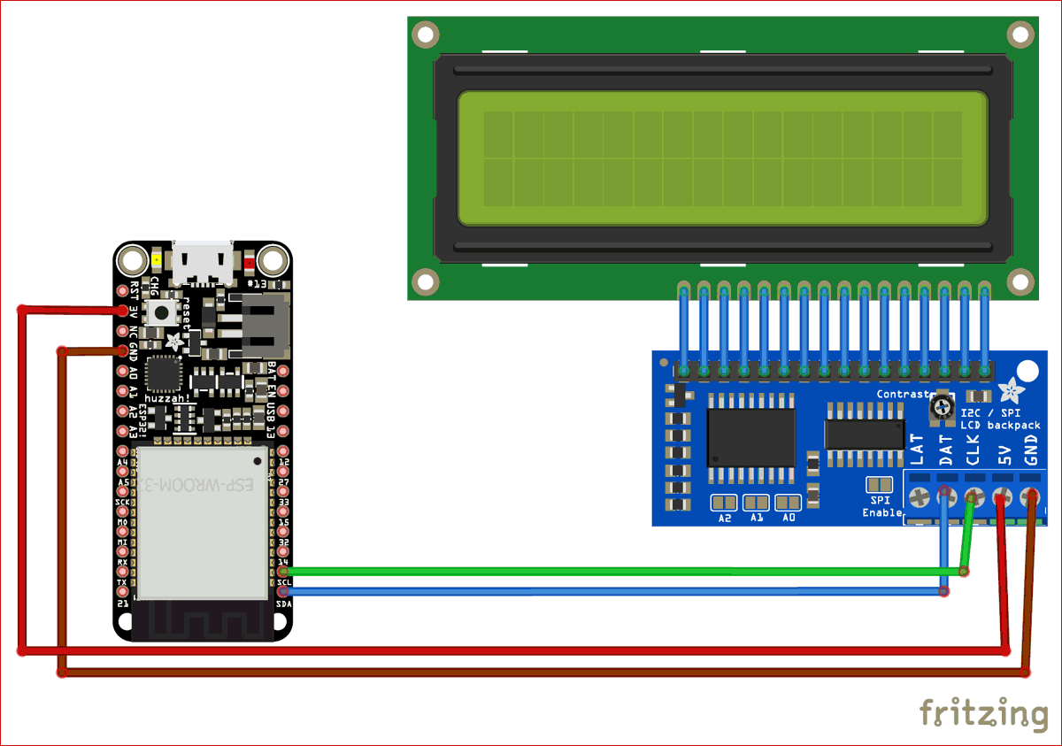Circuit Diagram for Designing Internet Clock using 16x2 LCD and ESP32