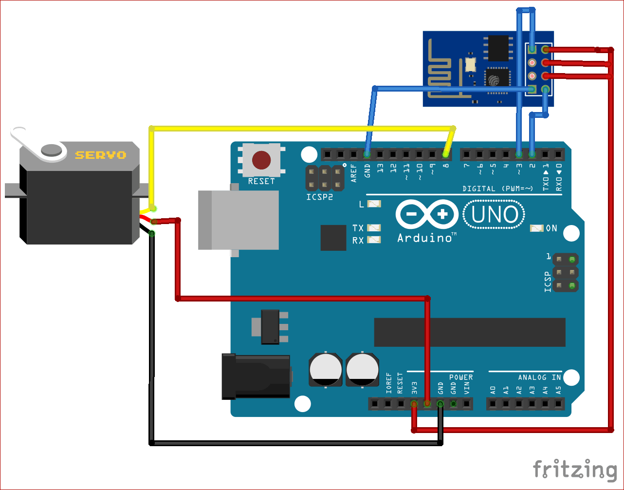 Circuit Diagram for ESP8266 Based Webserver to Control Servo Motor from Webpage