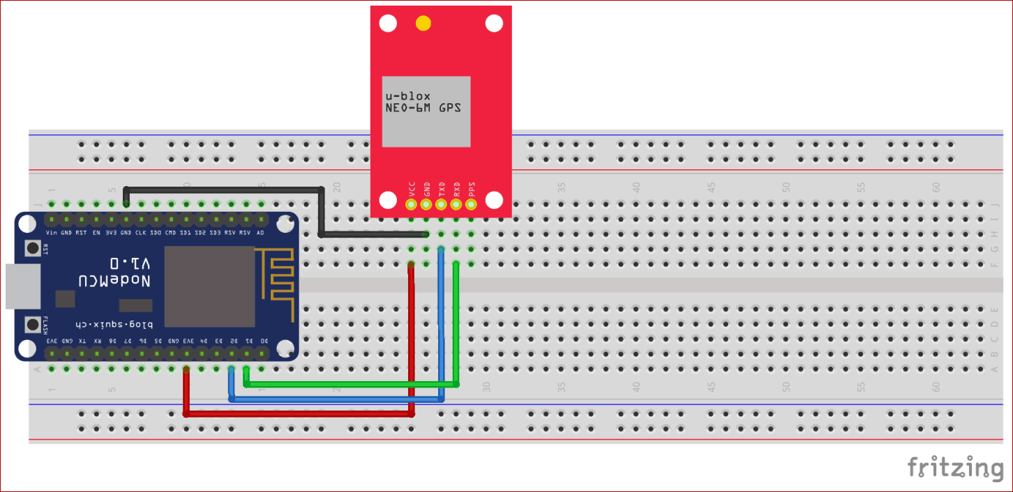 Circuit Diagram for GPS Module Interfacing with NodeMCU ESP8266