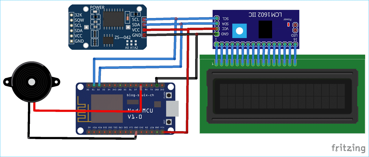 IoT Alarm Clock Circuit Diagram using NodeMCU