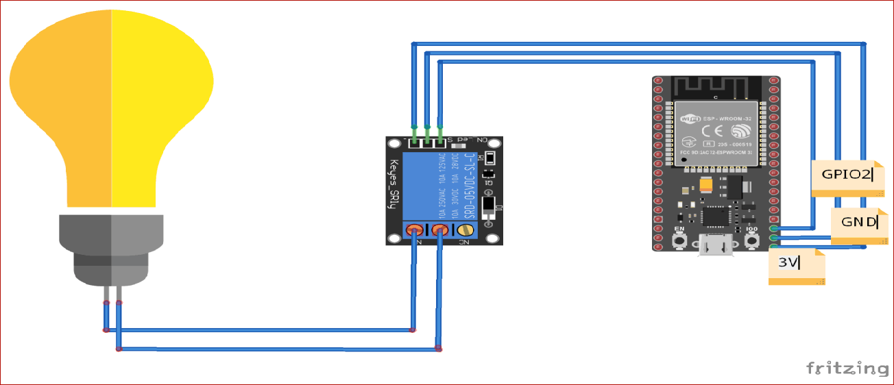 Circuit Diagram for IoT Home Automation using Blynk App using ESP32