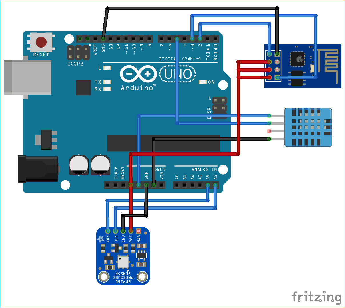 IoT Arduino ESP8266 Weather Station Circuit Diagram