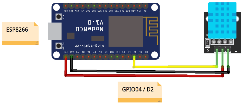 Circuit Diagram for IoT Temperature and Humidity Monitoring using BLYNK and DHT11 Sensor