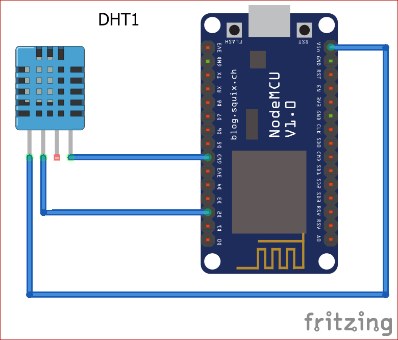 Circuit Diagram for IoT based Temperature and Humidity Monitoring using ThingSpeak and ESP8266