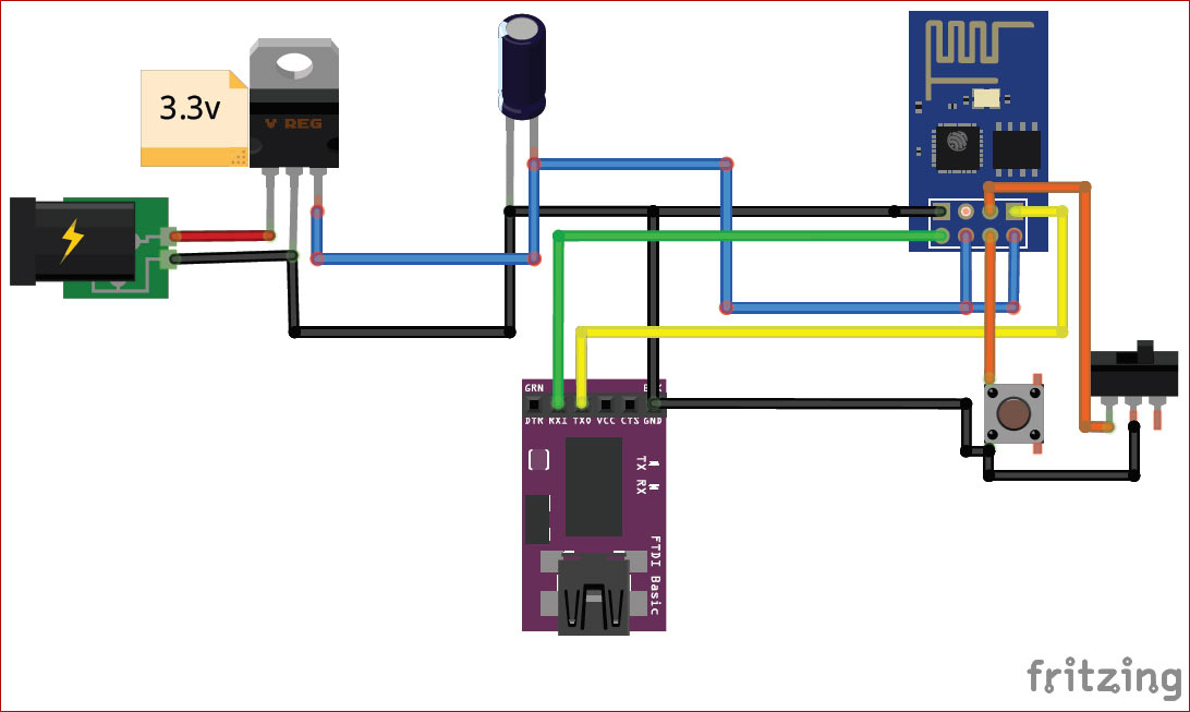 Circuit Diagram for Programming ESP8266 using Arduino IDE