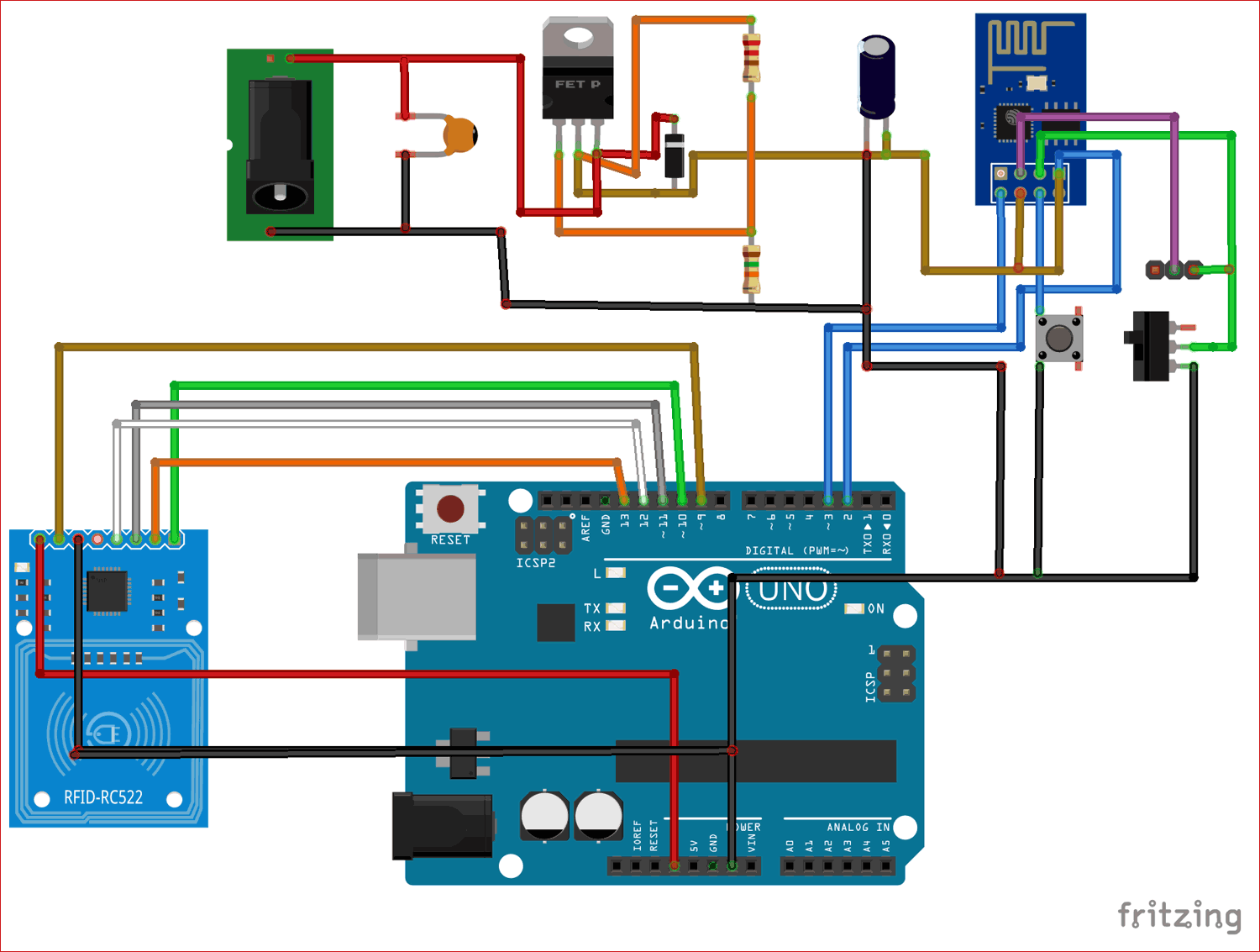 Circuit Diagram for RFID Based Attendance System using Arduino and Adafruit IO