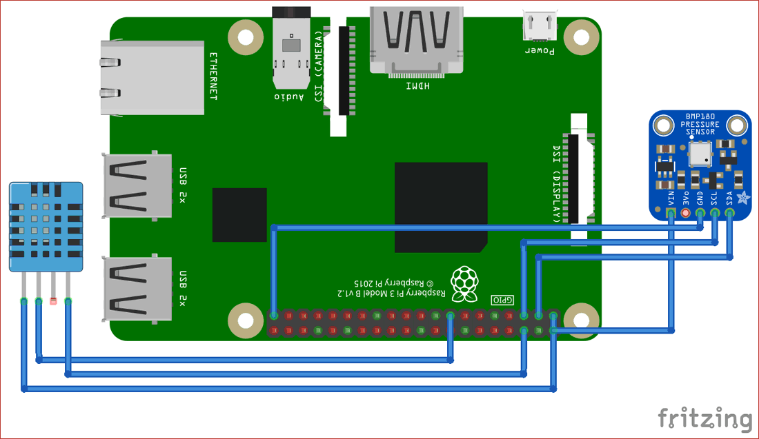 Circuit Diagram for Raspberry Pi Weather Station using DHT11 BMP180 and ThingSpeak