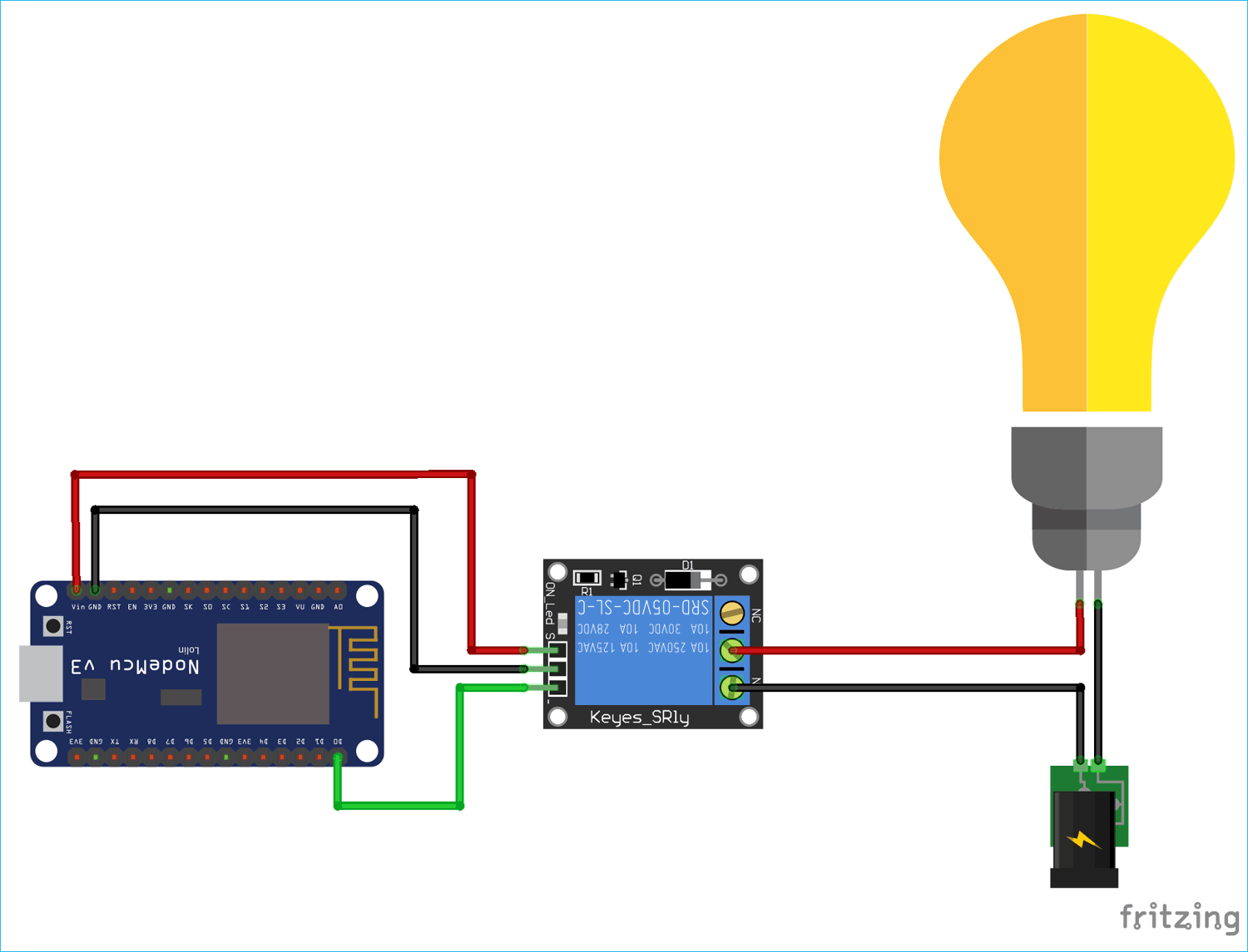 Circuit Diagram for Telegram Controlled Home Automation using NodeMCU ESP8266