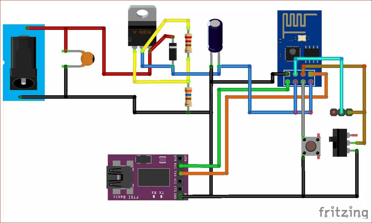 Circuit Diagram for using ESP8266 with AT commands