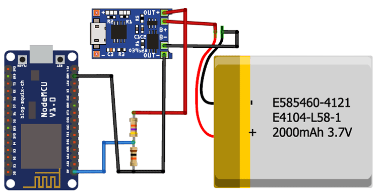 IoT Battery Monitoring System Circuit Diagram using NodeMCU
