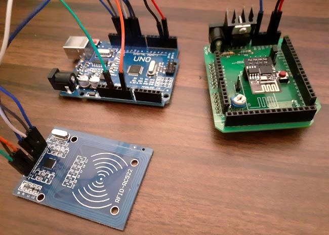 Circuit Hardware for RFID Based Attendance System using Arduino and Adafruit IO