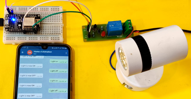 Circuit Hardware for Telegram Controlled Home Automation using NodeMCU ESP8266