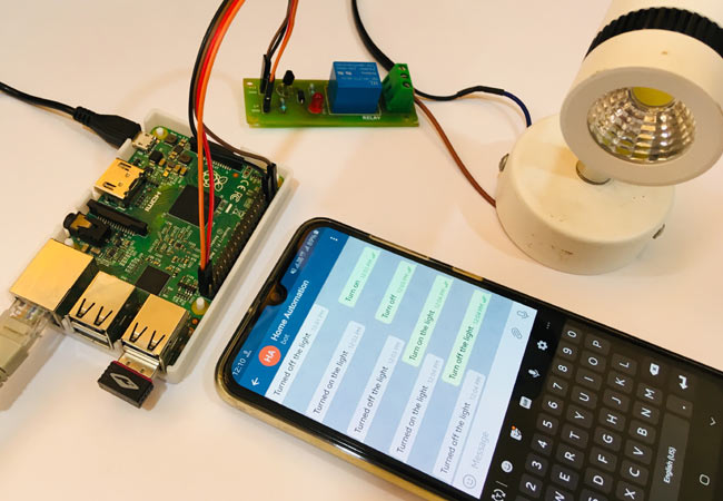 Circuit Hardware for Telegram controlled Home Automation using Raspberry Pi