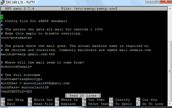 Configuring SMTP on Pi for Sending Email