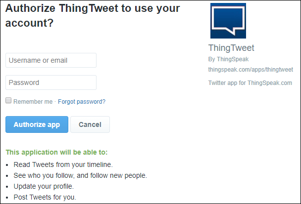 Connect your twitter account with Thingspeak