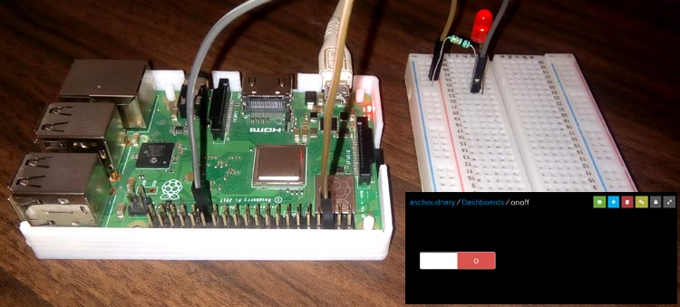 Control Raspberry Pi GPIO with Adafruit IO to trigger an LED