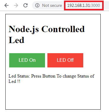 IoT Controlled LED using Node js Web server and Raspberry Pi