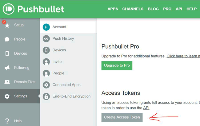 Create Access token in PushBullet Account