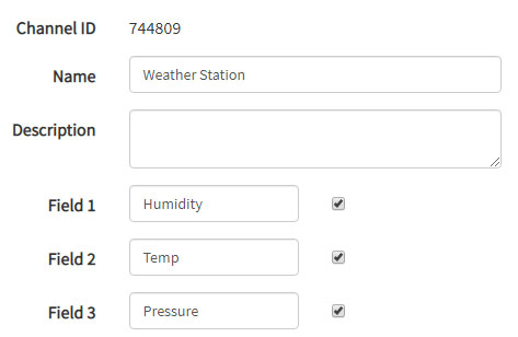 Create Channel for Weather Station On ThingSpeak