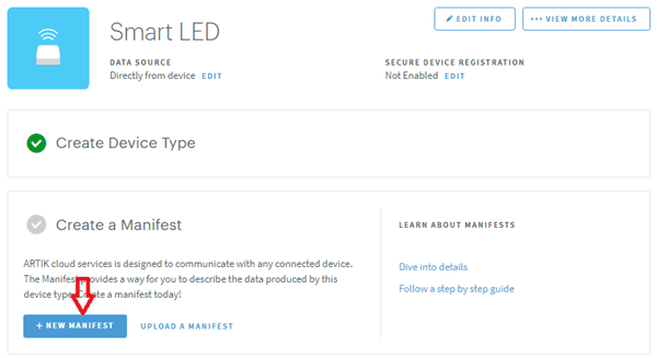 Create Manifest at ARTIK Cloud for LED Control using Raspberry Pi