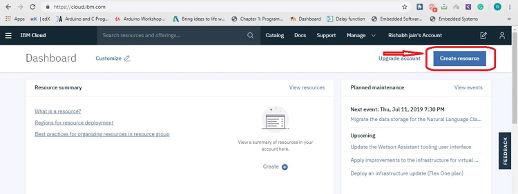 Create Resources in IBM Watson Account