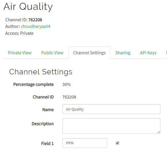 Create a Channel for IoT Based Air Quality Monitoring System