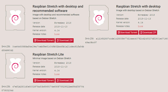 Download Files for Installing Raspbian