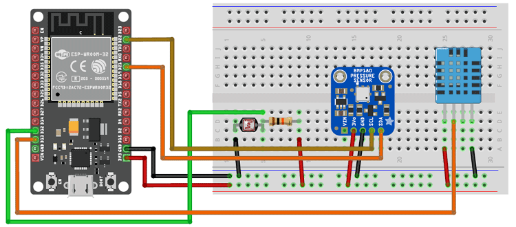 ESP32 Wi-Fi Weather Station Circuit Diagram
