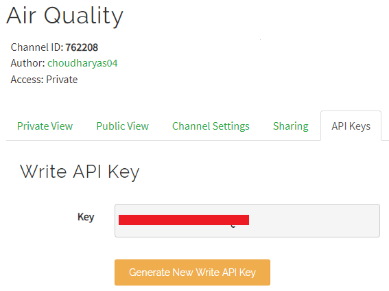 Generate API key for IoT Based Air Quality Monitoring System
