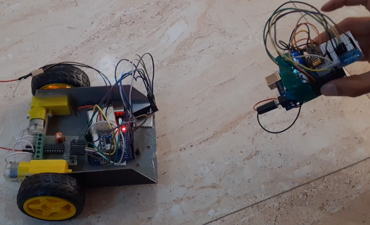 Hand Gesture Controlled Robot using Arduino - Project Setup