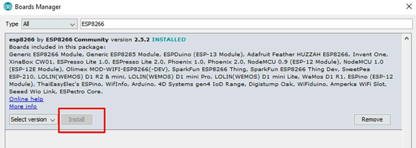 Install ESP8266 Library in Arduino IDE