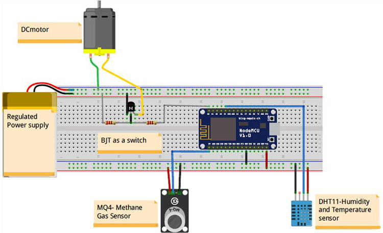 IoT Based Food Monitoring System Circuit Diagram