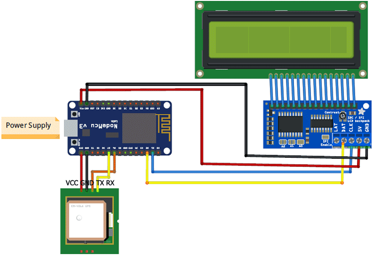 IoT based Vehicle Tracking System Circuit Diagram