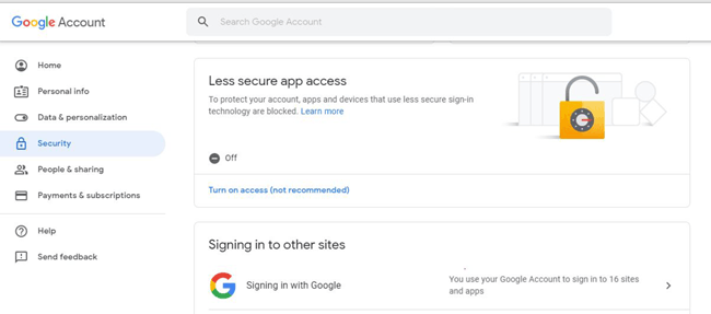 Modify Security Settings in Google Mail account