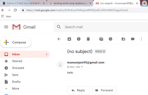 Received SMTP Test Email using Raspberry Pi