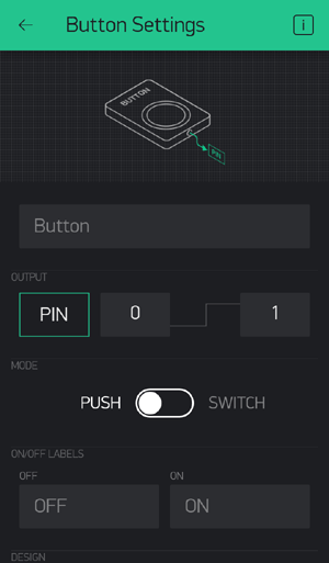 Setup Button in Project Created using Blynk App and Pi