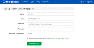 Signup for ThingSpeak