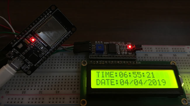 DIY Internet Clock Project using 16x2 LCD and ESP32