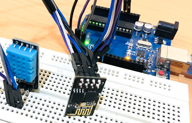 Testing Temperature and Humidity Monitoring over ThingSpeak using Arduino UNO and ESP826