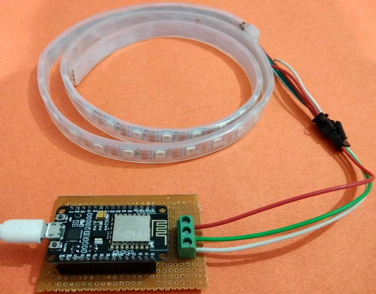 Blynk controlled WS2812 Neopixel LED Strip using NodeMCU and Arduino IDE